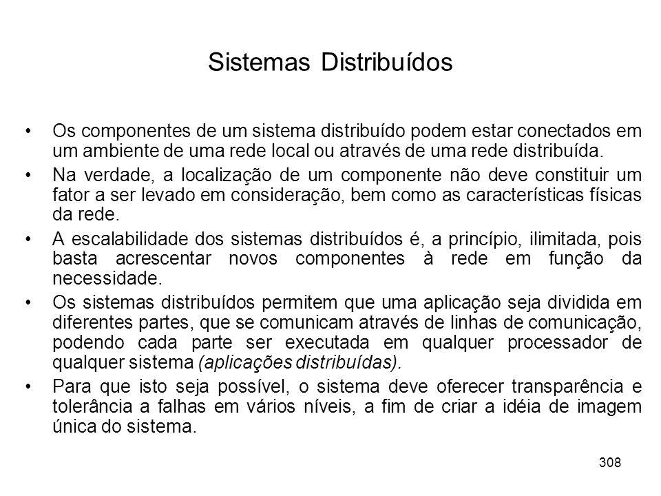 Sistemas Distribuídos Os componentes de um sistema distribuído podem estar conectados em um ambiente de uma rede local ou através de uma rede distribuída.