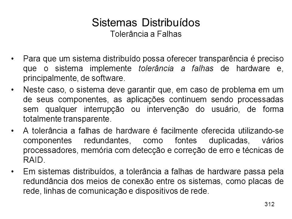 Sistemas Distribuídos Tolerância a Falhas Para que um sistema distribuído possa oferecer transparência é preciso que o sistema implemente tolerância a falhas de hardware e, principalmente, de software.