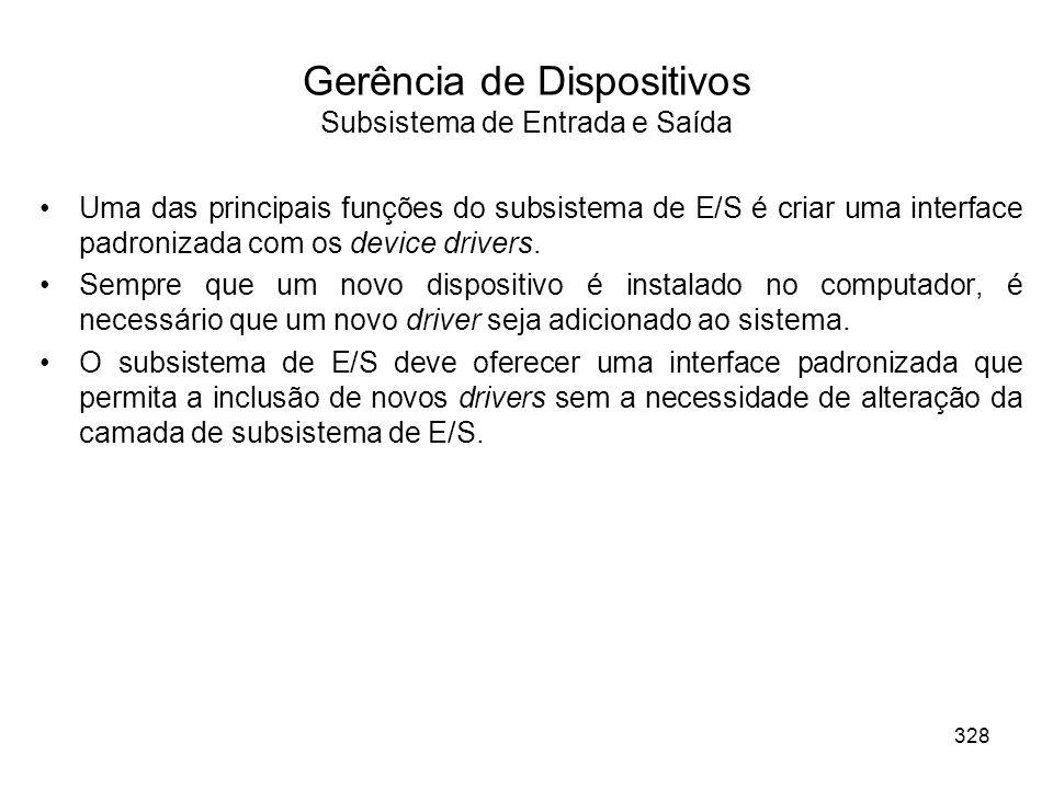 Gerência de Dispositivos Subsistema de Entrada e Saída Uma das principais funções do subsistema de E/S é criar uma interface padronizada com os device drivers.