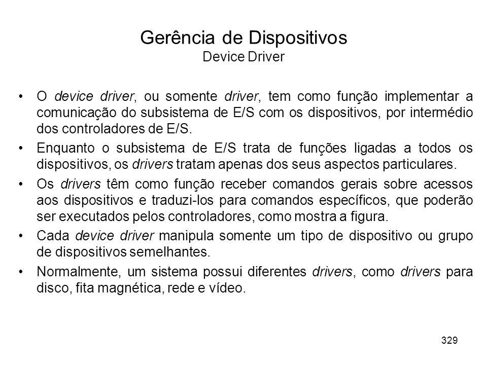 Gerência de Dispositivos Device Driver O device driver, ou somente driver, tem como função implementar a comunicação do subsistema de E/S com os dispositivos, por intermédio dos controladores de E/S.