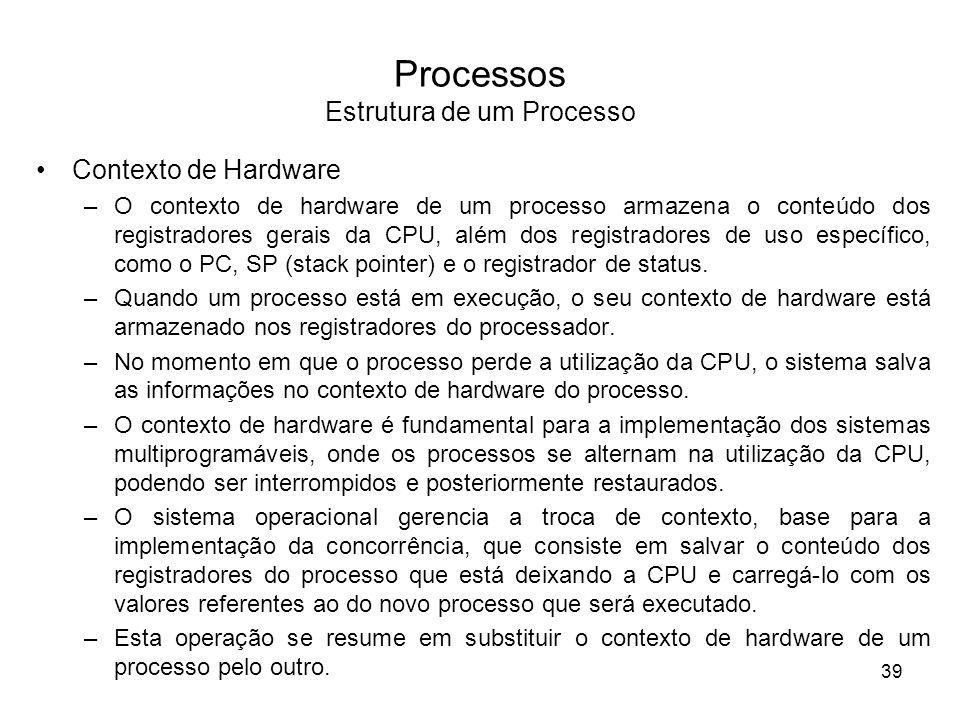 Processos Estrutura de um Processo Contexto de Hardware –O contexto de hardware de um processo armazena o conteúdo dos registradores gerais da CPU, além dos registradores de uso específico, como o PC, SP (stack pointer) e o registrador de status.