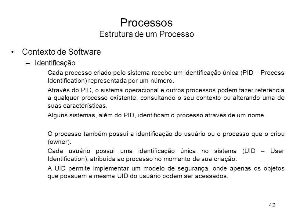 Processos Estrutura de um Processo Contexto de Software –Identificação Cada processo criado pelo sistema recebe um identificação única (PID – Process Identification) representada por um número.
