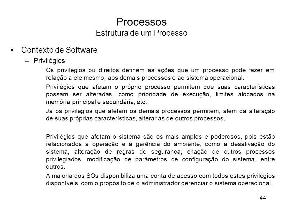 Processos Estrutura de um Processo Contexto de Software –Privilégios Os privilégios ou direitos definem as ações que um processo pode fazer em relação a ele mesmo, aos demais processos e ao sistema operacional.