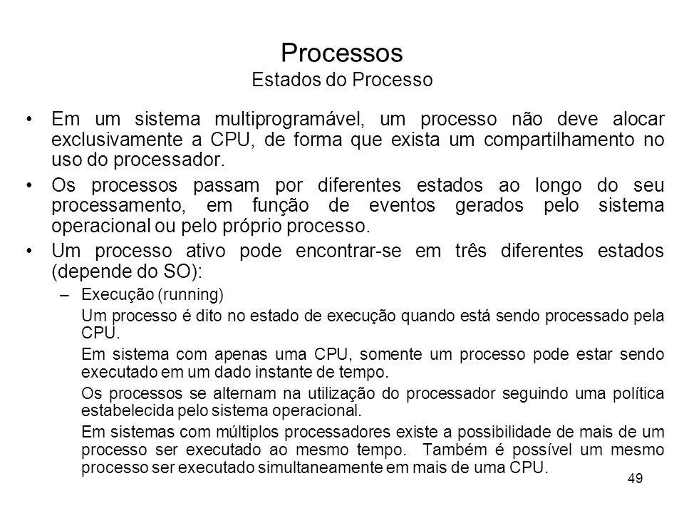 Em um sistema multiprogramável, um processo não deve alocar exclusivamente a CPU, de forma que exista um compartilhamento no uso do processador.