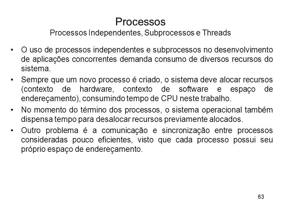 O uso de processos independentes e subprocessos no desenvolvimento de aplicações concorrentes demanda consumo de diversos recursos do sistema.