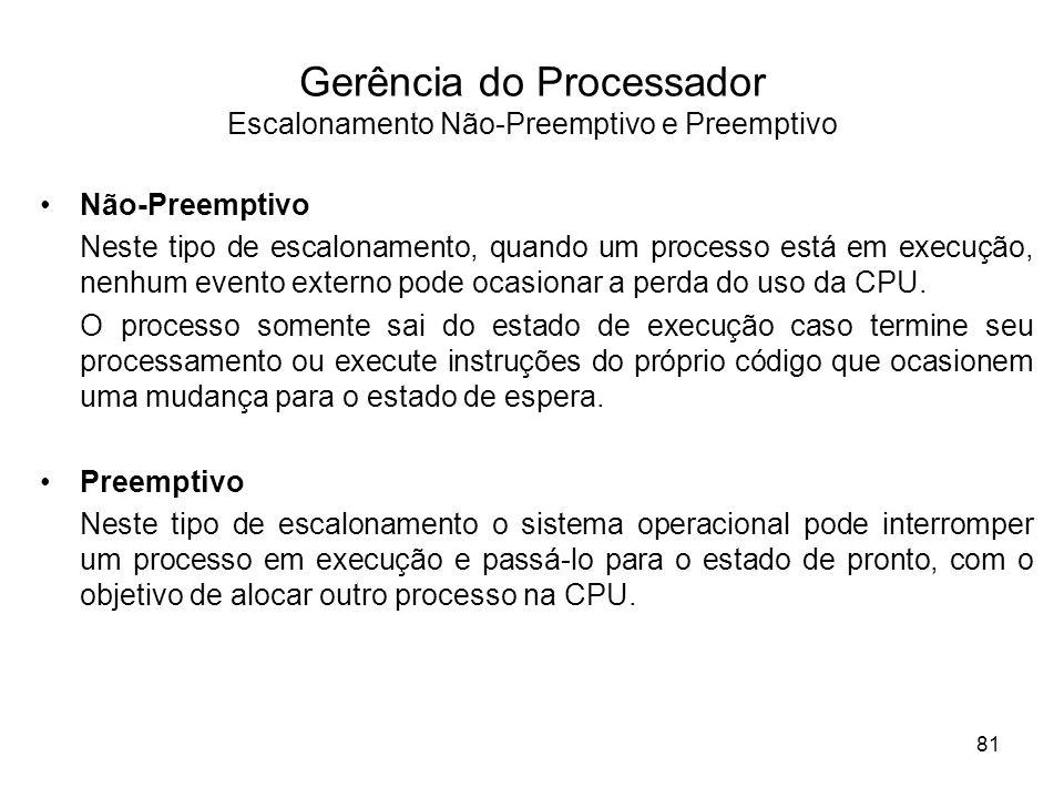 Não-Preemptivo Neste tipo de escalonamento, quando um processo está em execução, nenhum evento externo pode ocasionar a perda do uso da CPU.