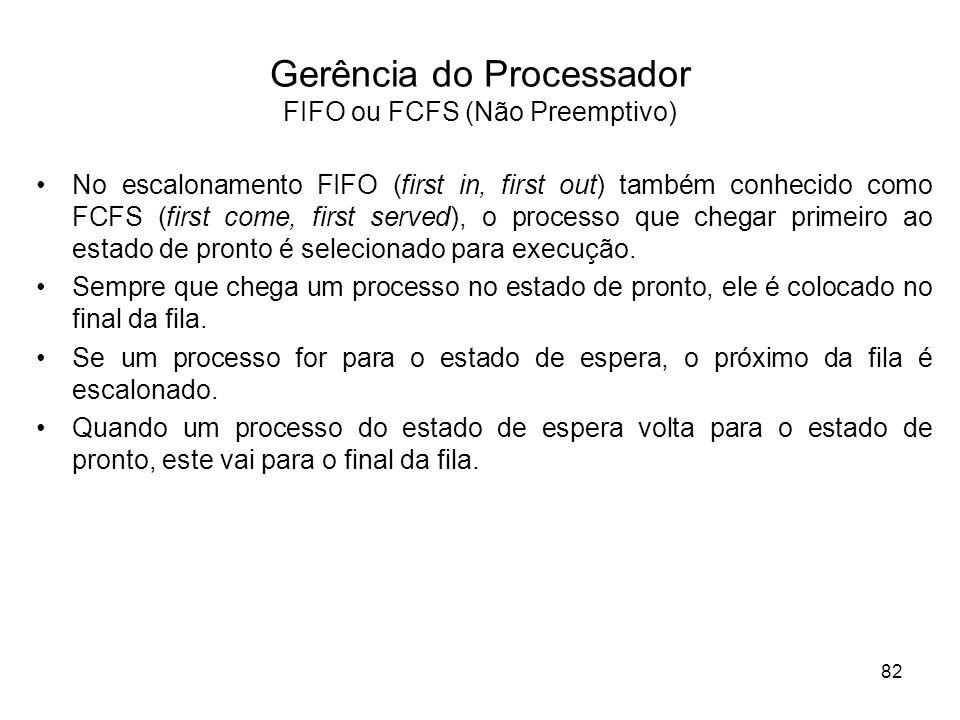 No escalonamento FIFO (first in, first out) também conhecido como FCFS (first come, first served), o processo que chegar primeiro ao estado de pronto é selecionado para execução.