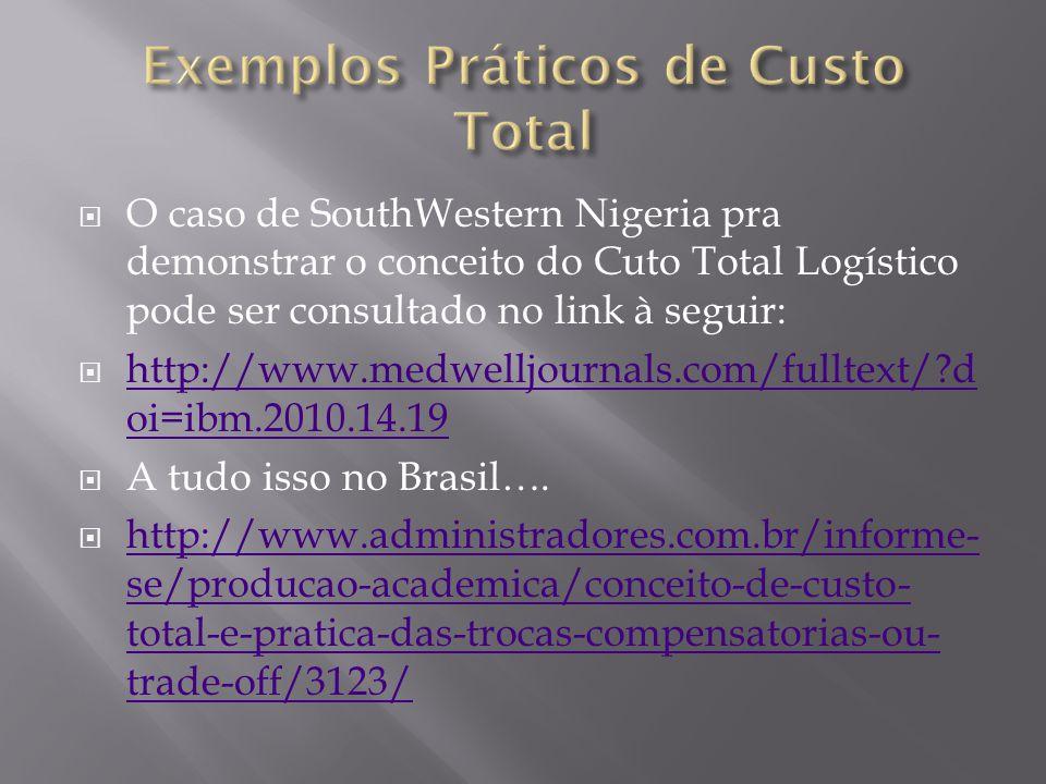 O caso de SouthWestern Nigeria pra demonstrar o conceito do Cuto Total Logístico pode ser consultado no link à seguir: http://www.medwelljournals.com/fulltext/?d oi=ibm.2010.14.19 http://www.medwelljournals.com/fulltext/?d oi=ibm.2010.14.19 A tudo isso no Brasil….