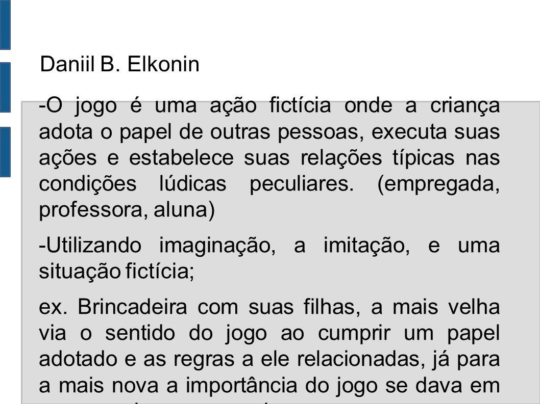 Daniil B. Elkonin -O jogo é uma ação fictícia onde a criança adota o papel de outras pessoas, executa suas ações e estabelece suas relações típicas na