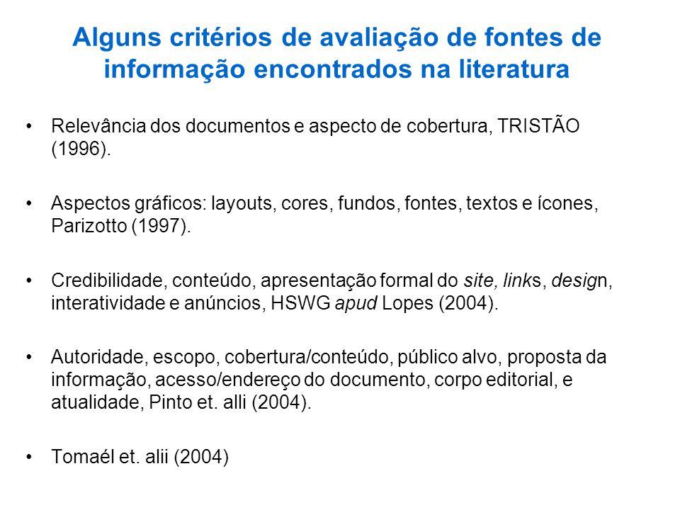 Alguns critérios de avaliação de fontes de informação encontrados na literatura Relevância dos documentos e aspecto de cobertura, TRISTÃO (1996). Aspe