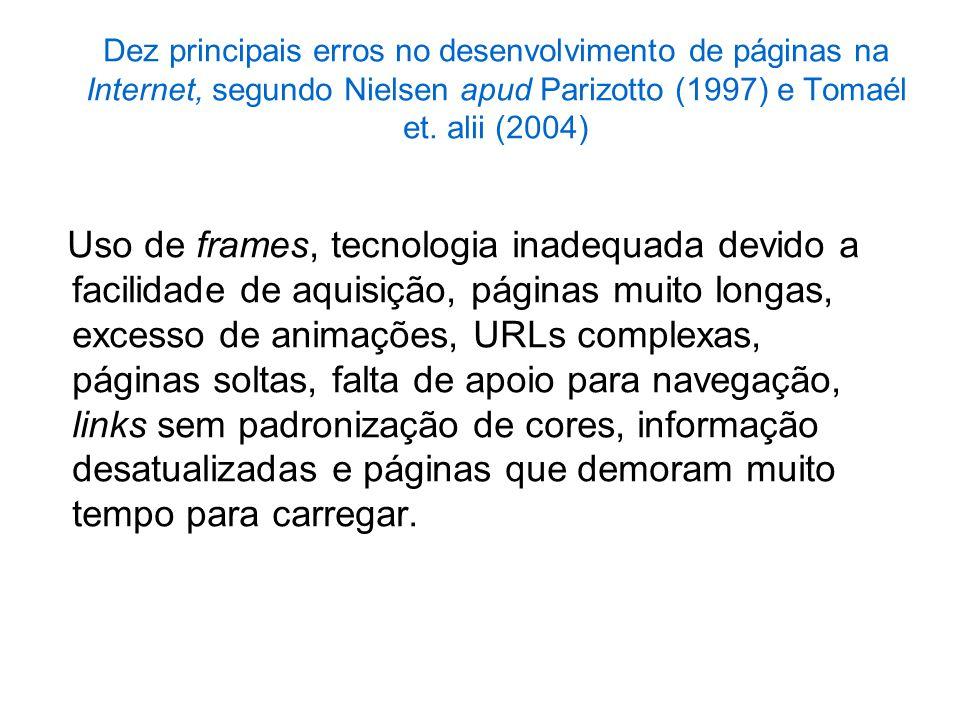 Dez principais erros no desenvolvimento de páginas na Internet, segundo Nielsen apud Parizotto (1997) e Tomaél et. alii (2004) Uso de frames, tecnolog