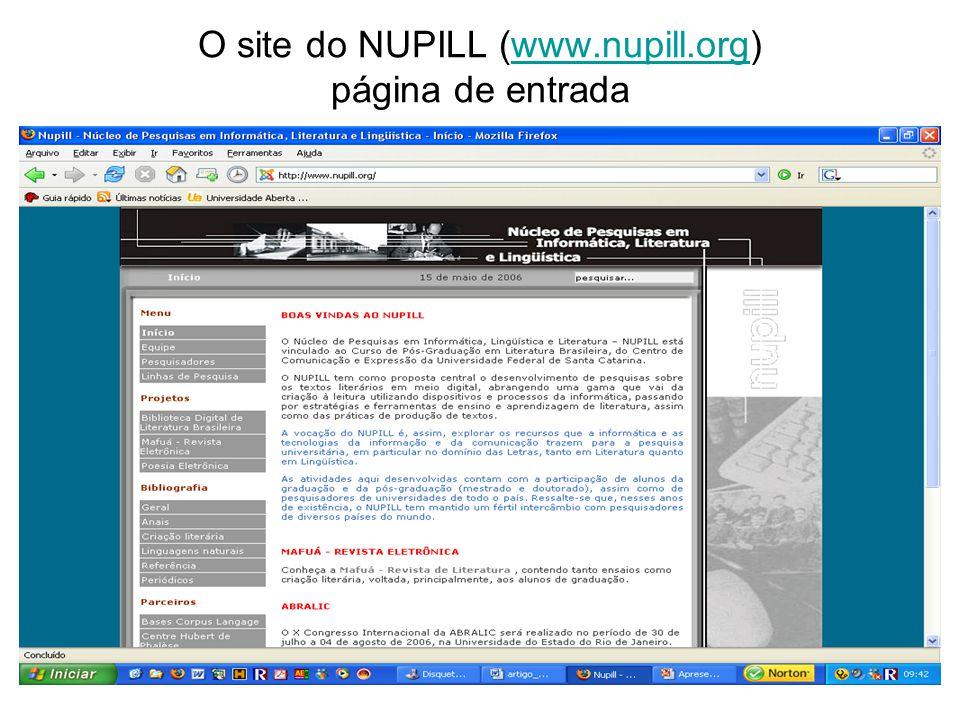 O site do NUPILL (www.nupill.org) página de entradawww.nupill.org