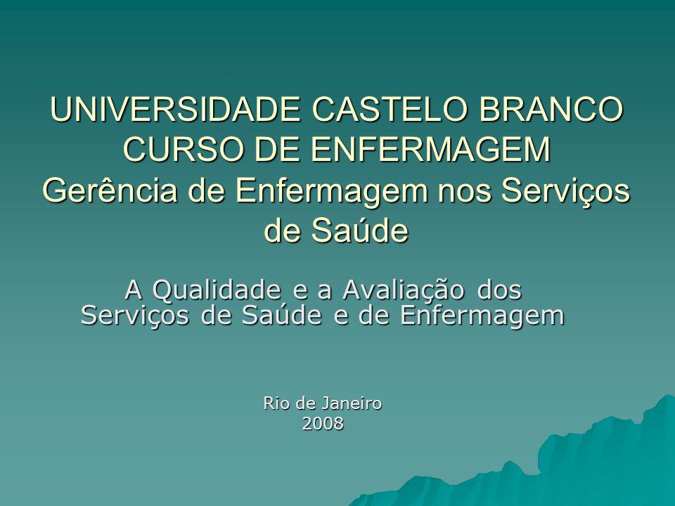 UNIVERSIDADE CASTELO BRANCO CURSO DE ENFERMAGEM Gerência de Enfermagem nos Serviços de Saúde A Qualidade e a Avaliação dos Serviços de Saúde e de Enfe