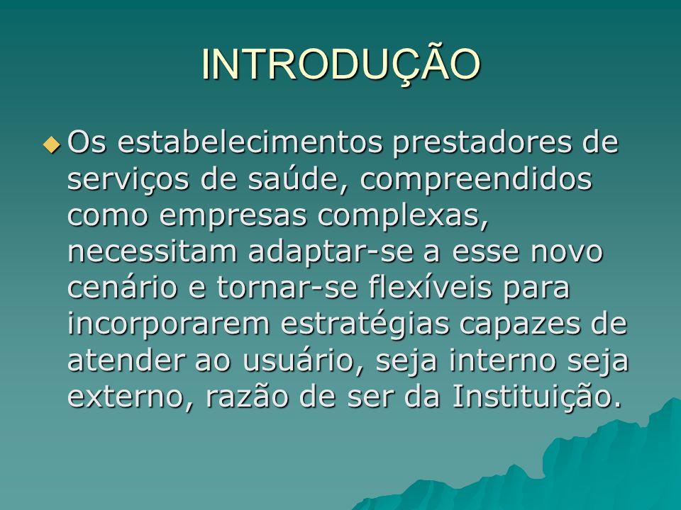 INTRODUÇÃO Os estabelecimentos prestadores de serviços de saúde, compreendidos como empresas complexas, necessitam adaptar-se a esse novo cenário e to