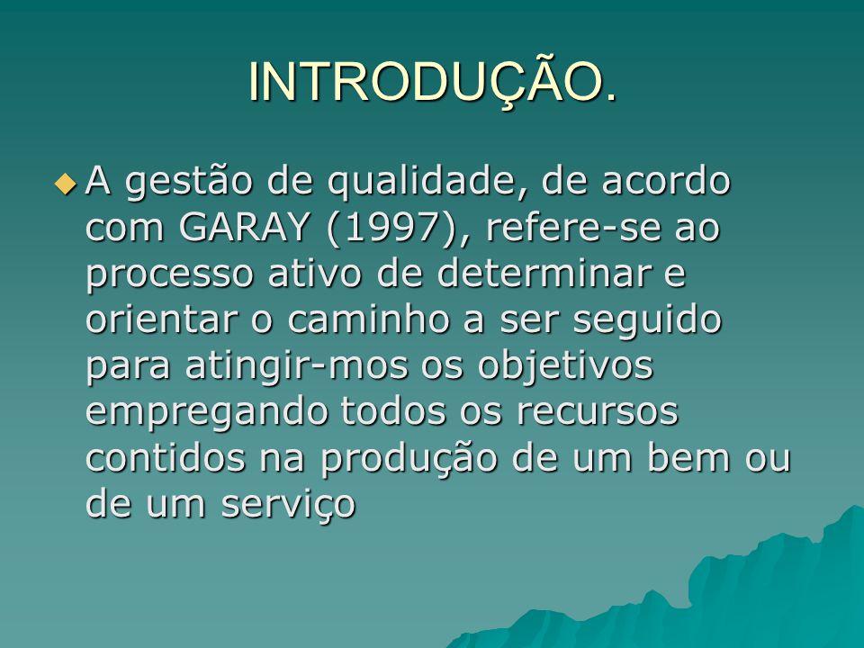 INTRODUÇÃO. A gestão de qualidade, de acordo com GARAY (1997), refere-se ao processo ativo de determinar e orientar o caminho a ser seguido para ating