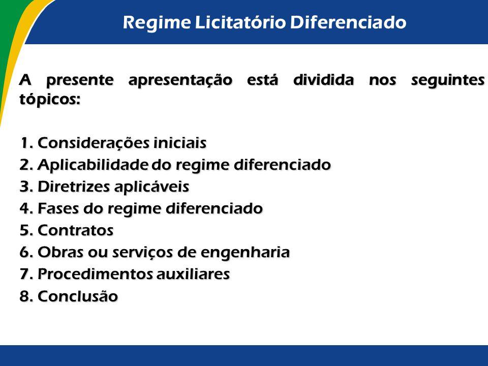 Regime Licitatório Diferenciado A presente apresentação está dividida nos seguintes tópicos: 1. Considerações iniciais 2. Aplicabilidade do regime dif