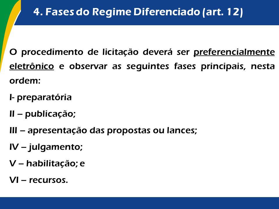 4. Fases do Regime Diferenciado (art. 12) O procedimento de licitação deverá ser preferencialmente eletrônico e observar as seguintes fases principais