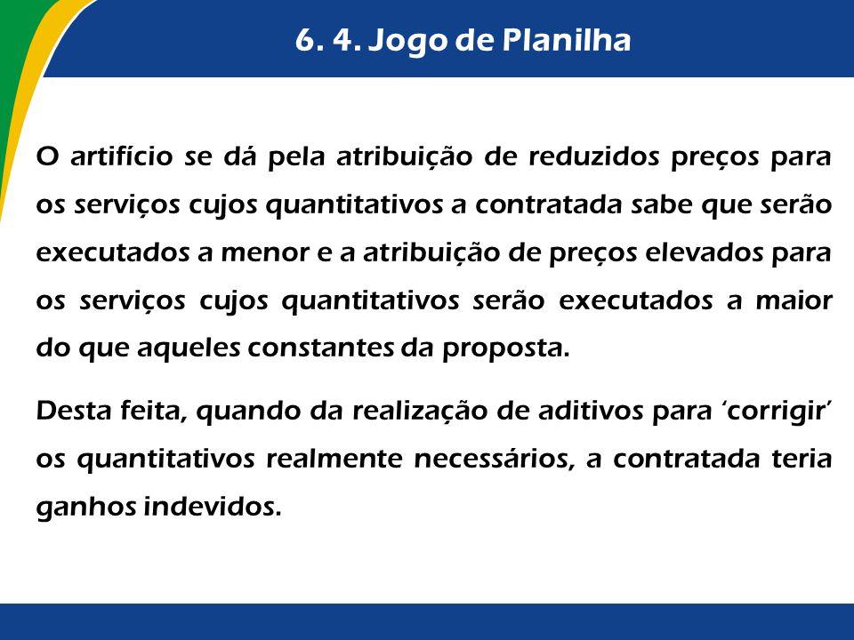 6. 4. Jogo de Planilha O artifício se dá pela atribuição de reduzidos preços para os serviços cujos quantitativos a contratada sabe que serão executad