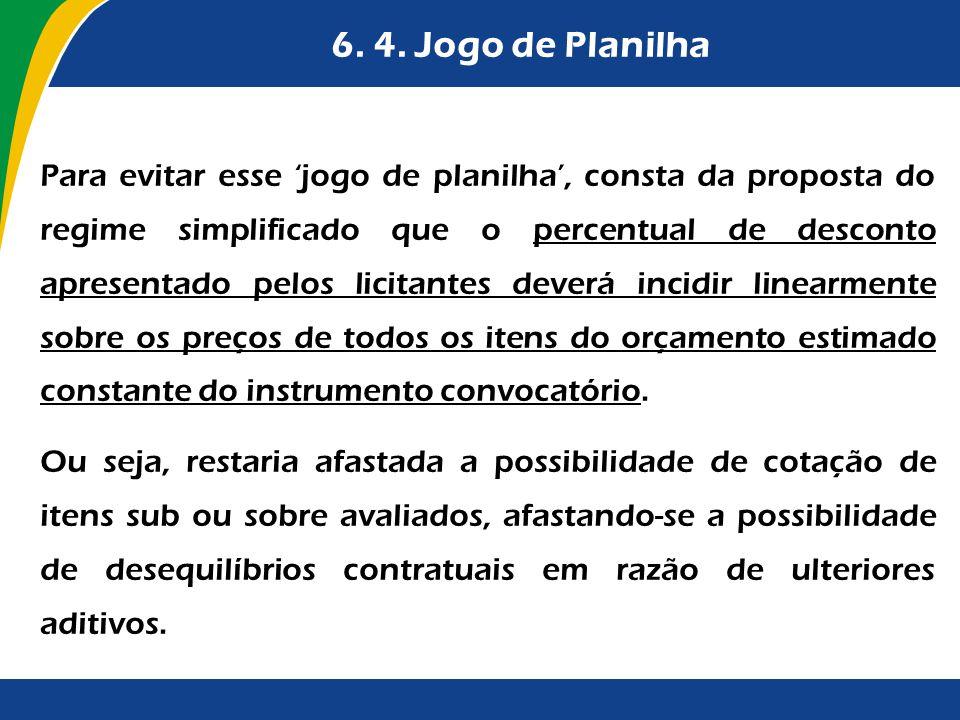 6. 4. Jogo de Planilha Para evitar esse jogo de planilha, consta da proposta do regime simplificado que o percentual de desconto apresentado pelos lic