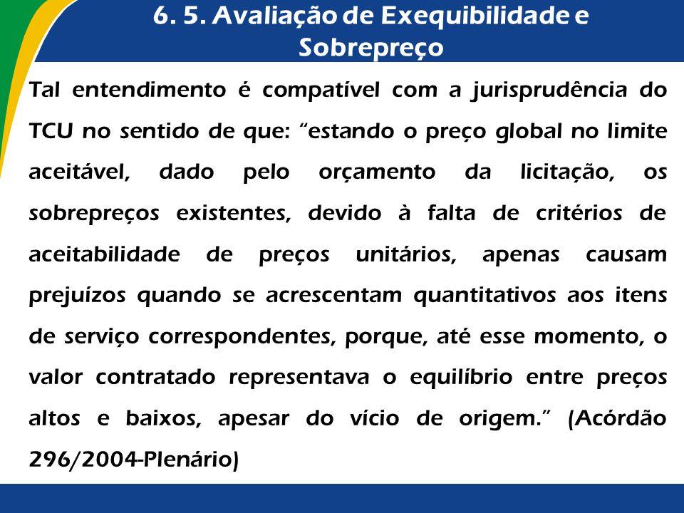6. 5. Avaliação de Exequibilidade e Sobrepreço Tal entendimento é compatível com a jurisprudência do TCU no sentido de que: estando o preço global no