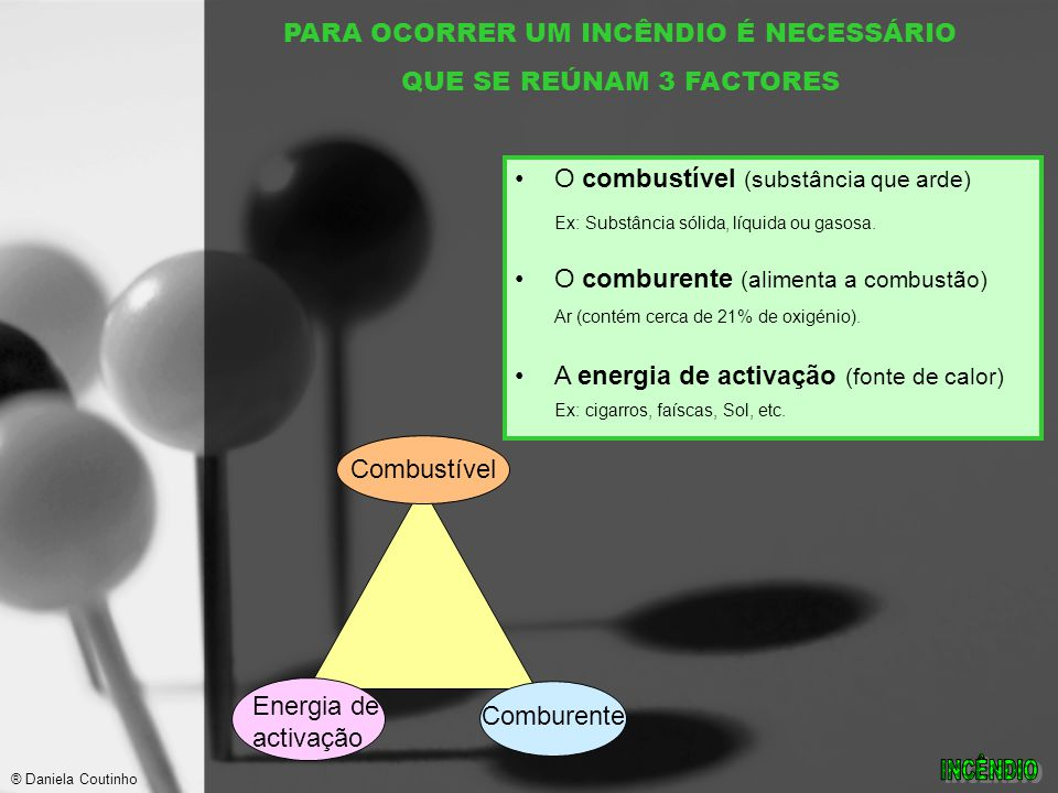PARA OCORRER UM INCÊNDIO É NECESSÁRIO QUE SE REÚNAM 3 FACTORES O combustível (substância que arde) Ex: Substância sólida, líquida ou gasosa.
