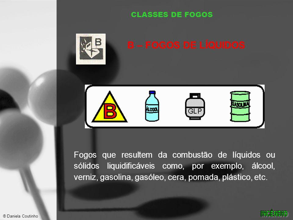 CLASSES DE FOGOS Fogos que resultem da combustão de líquidos ou sólidos liquidificáveis como, por exemplo, álcool, verniz, gasolina, gasóleo, cera, pomada, plástico, etc.
