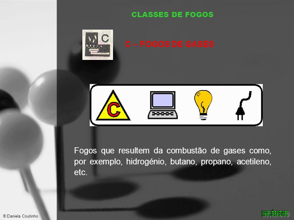 CLASSES DE FOGOS Fogos que resultem da combustão de gases como, por exemplo, hidrogénio, butano, propano, acetileno, etc.