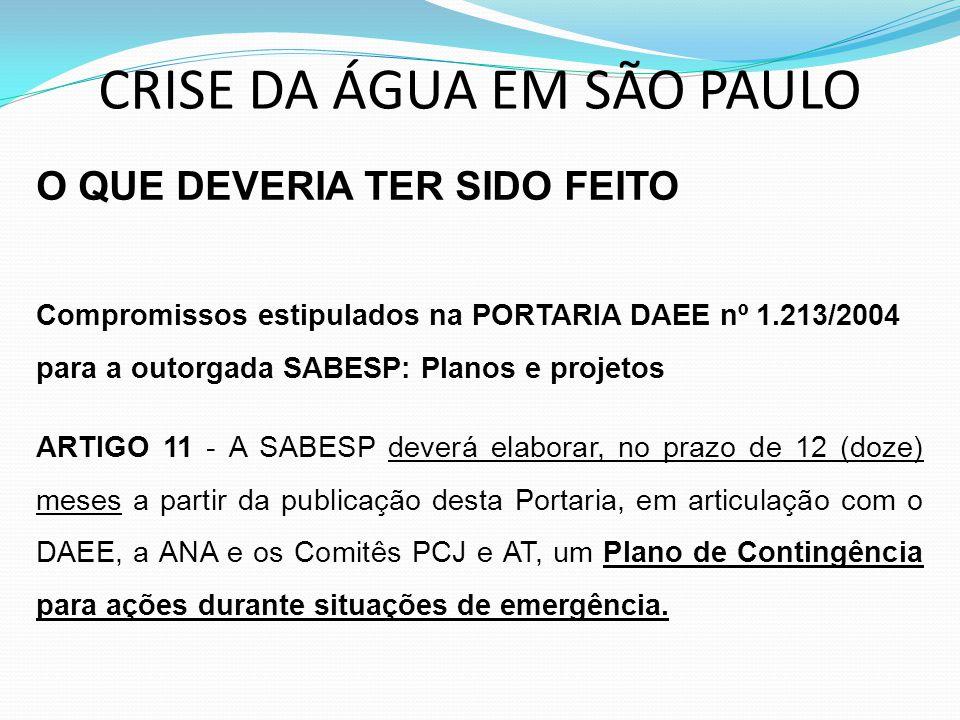CRISE DA ÁGUA EM SÃO PAULO O QUE DEVERIA TER SIDO FEITO Compromissos estipulados na PORTARIA DAEE nº 1.213/2004 para a outorgada SABESP: Planos e proj