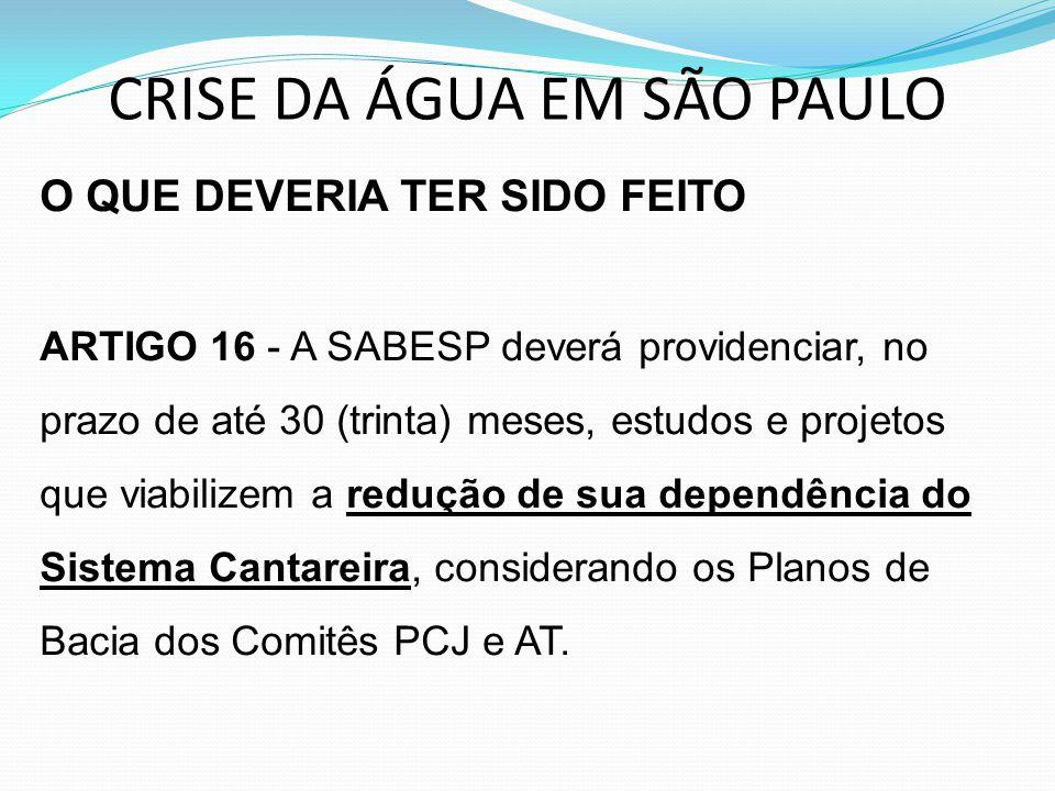 CRISE DA ÁGUA EM SÃO PAULO O QUE DEVERIA TER SIDO FEITO ARTIGO 16 - A SABESP deverá providenciar, no prazo de até 30 (trinta) meses, estudos e projeto