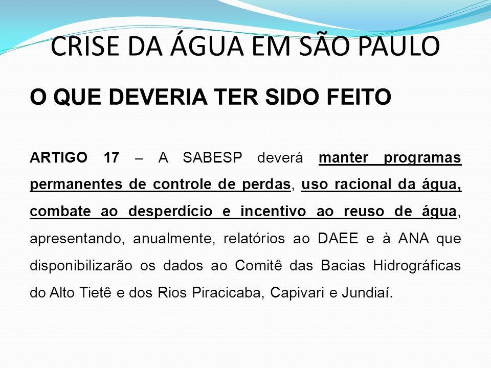 CRISE DA ÁGUA EM SÃO PAULO O QUE DEVERIA TER SIDO FEITO ARTIGO 17 – A SABESP deverá manter programas permanentes de controle de perdas, uso racional d
