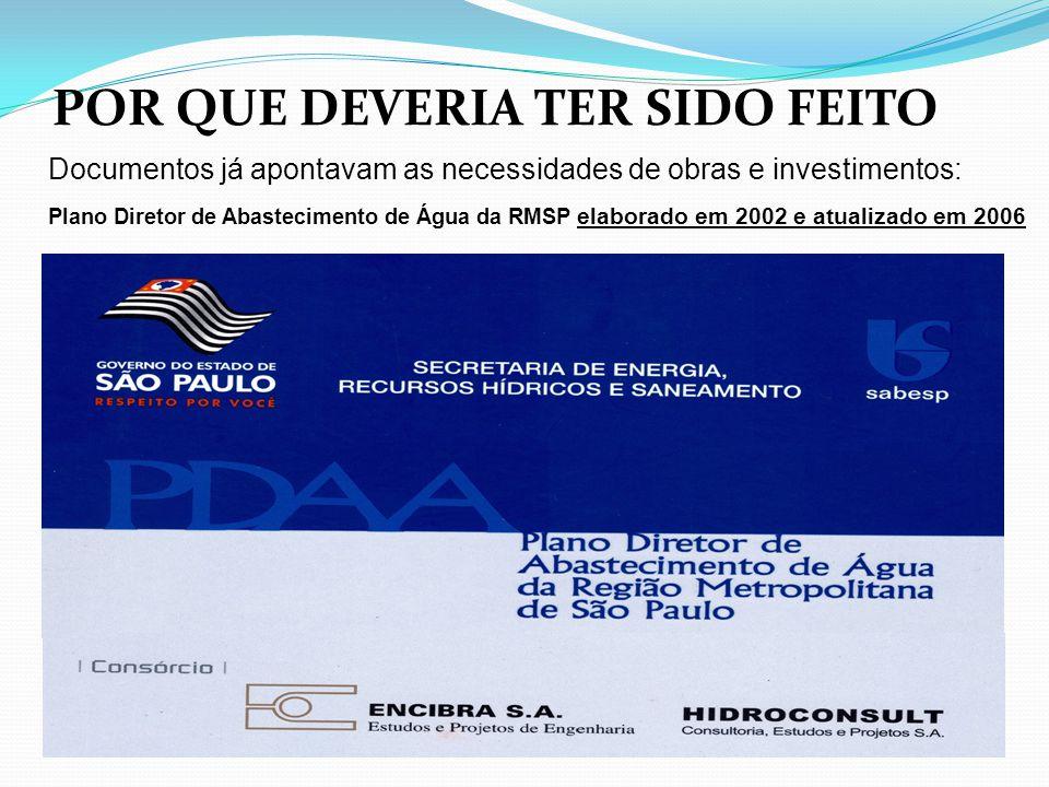 Documentos já apontavam as necessidades de obras e investimentos: Plano Diretor de Abastecimento de Água da RMSP elaborado em 2002 e atualizado em 200