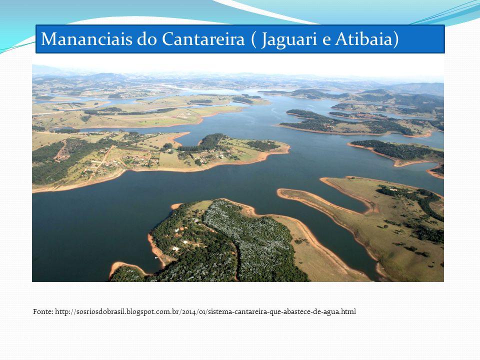 Mananciais do Cantareira ( Jaguari e Atibaia) Fonte: http://sosriosdobrasil.blogspot.com.br/2014/01/sistema-cantareira-que-abastece-de-agua.html