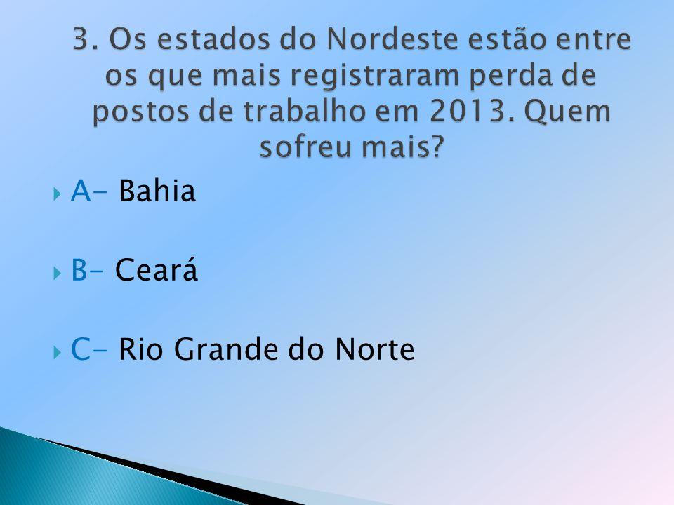 A- Bahia B- Ceará C- Rio Grande do Norte