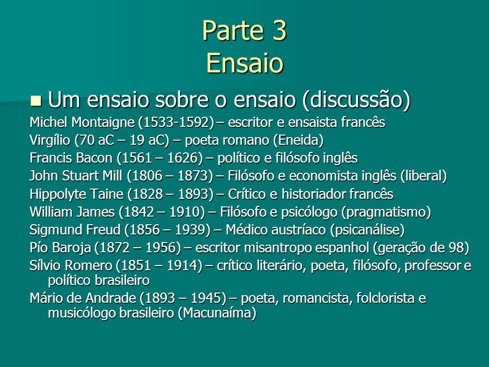 Parte 3 Ensaio Um ensaio sobre o ensaio (discussão) Um ensaio sobre o ensaio (discussão) Michel Montaigne (1533-1592) – escritor e ensaista francês Vi