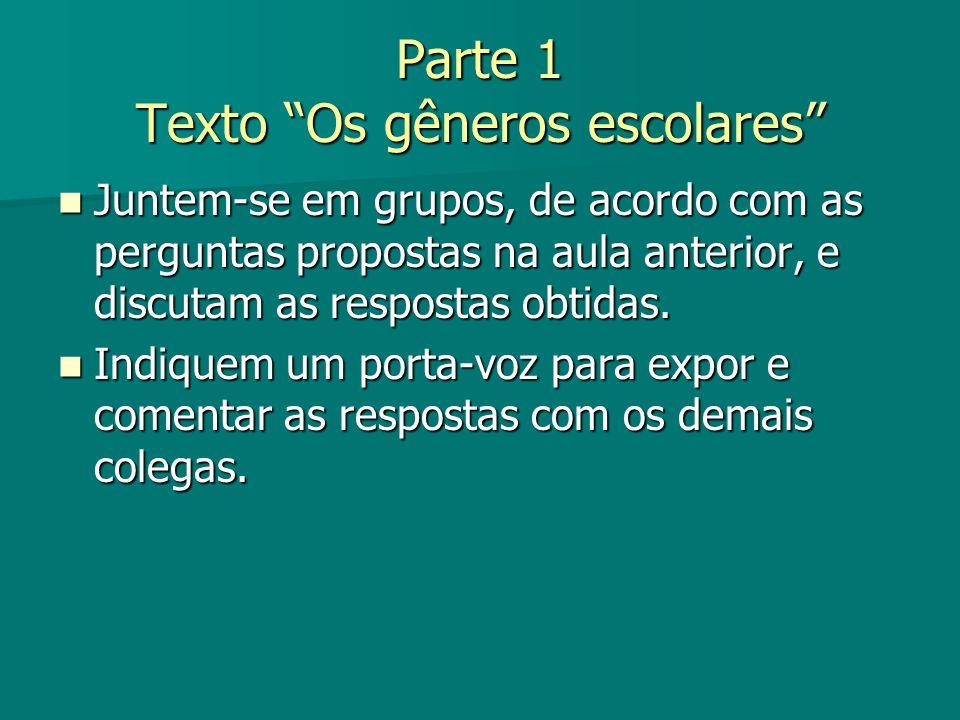 Parte 1 Texto Os gêneros escolares Juntem-se em grupos, de acordo com as perguntas propostas na aula anterior, e discutam as respostas obtidas. Juntem