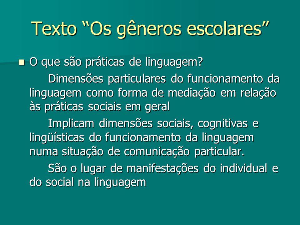 Texto Os gêneros escolares O que são práticas de linguagem? O que são práticas de linguagem? Dimensões particulares do funcionamento da linguagem como