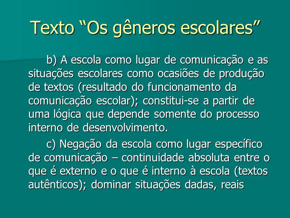 Texto Os gêneros escolares b) A escola como lugar de comunicação e as situações escolares como ocasiões de produção de textos (resultado do funcioname