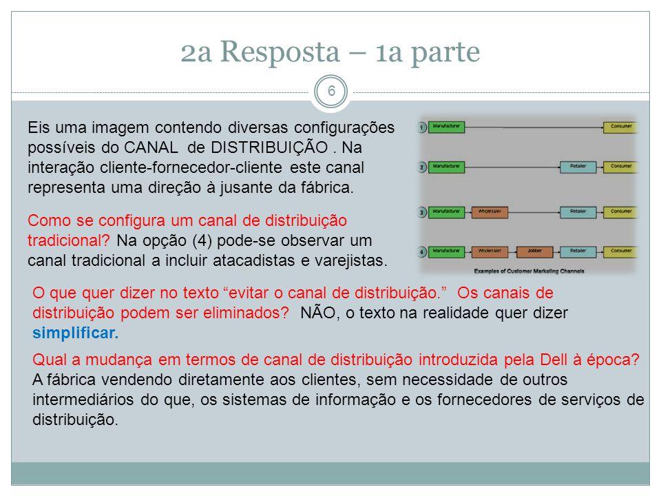 2a Resposta – 1a parte 6 Eis uma imagem contendo diversas configurações possíveis do CANAL de DISTRIBUIÇÃO.