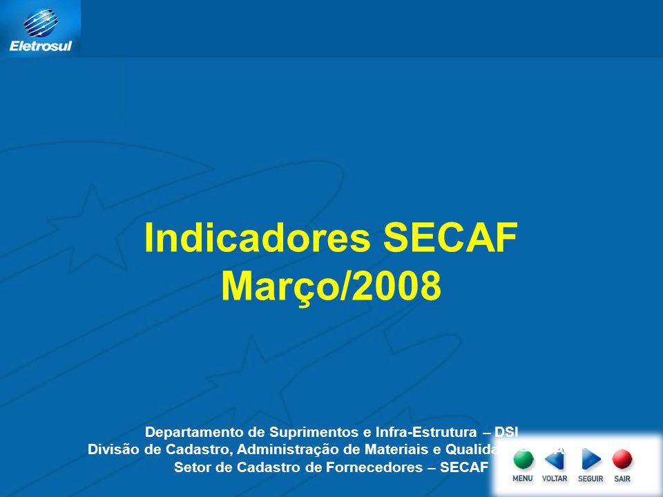 Indicadores SECAF Março/2008 Departamento de Suprimentos e Infra-Estrutura – DSI Divisão de Cadastro, Administração de Materiais e Qualidade – DCAQ Se