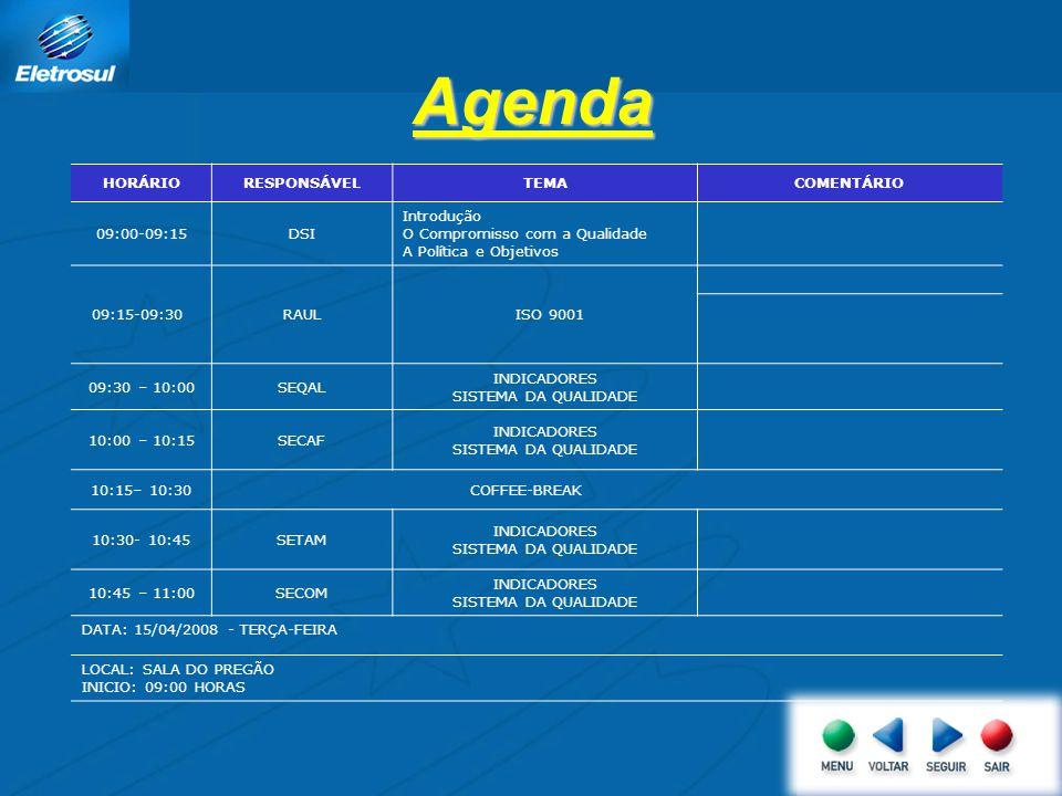 Agenda HORÁRIORESPONSÁVELTEMACOMENTÁRIO 09:00-09:15DSI Introdução O Compromisso com a Qualidade A Política e Objetivos 09:15-09:30RAUL ISO 9001 09:30