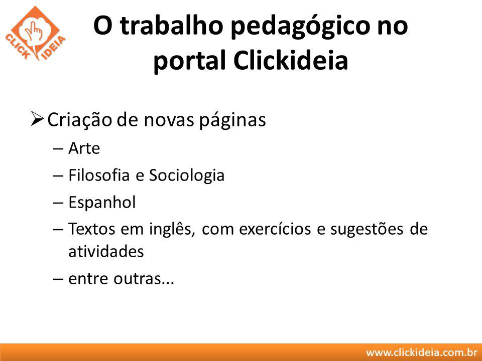 www.clickideia.com.br O trabalho pedagógico no portal Clickideia Criação de novas páginas – Arte – Filosofia e Sociologia – Espanhol – Textos em inglê