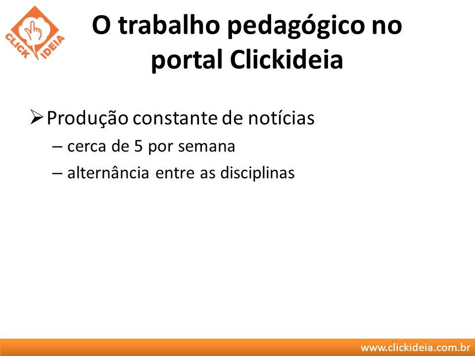 www.clickideia.com.br O trabalho pedagógico no portal Clickideia Produção constante de notícias – cerca de 5 por semana – alternância entre as discipl