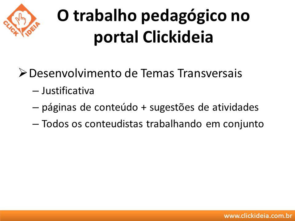www.clickideia.com.br O trabalho pedagógico no portal Clickideia Desenvolvimento de Temas Transversais – Justificativa – páginas de conteúdo + sugestõ