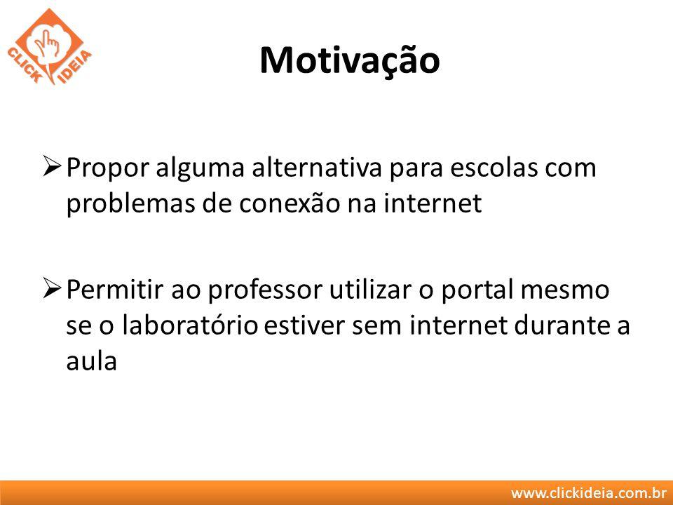 www.clickideia.com.br Motivação Propor alguma alternativa para escolas com problemas de conexão na internet Permitir ao professor utilizar o portal me