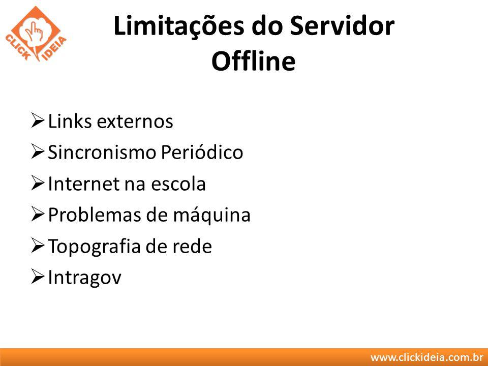 www.clickideia.com.br Limitações do Servidor Offline Links externos Sincronismo Periódico Internet na escola Problemas de máquina Topografia de rede I