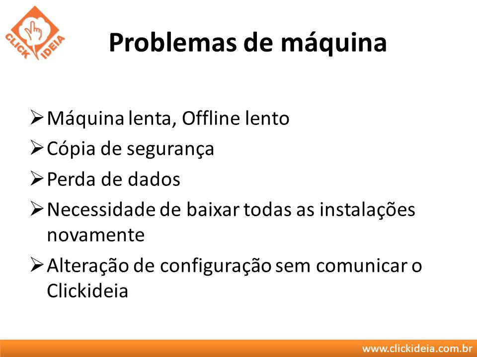 www.clickideia.com.br Problemas de máquina Máquina lenta, Offline lento Cópia de segurança Perda de dados Necessidade de baixar todas as instalações n
