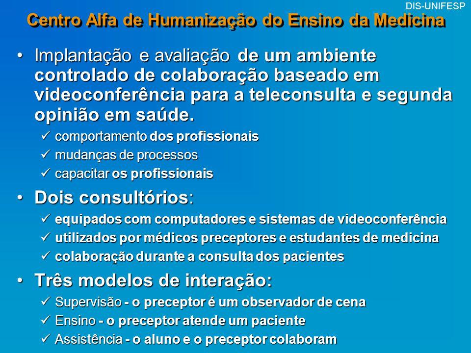 DIS-UNIFESP Centro Alfa de Humanização do Ensino da Medicina Implantação e avaliação de um ambiente controlado de colaboração baseado em videoconferên
