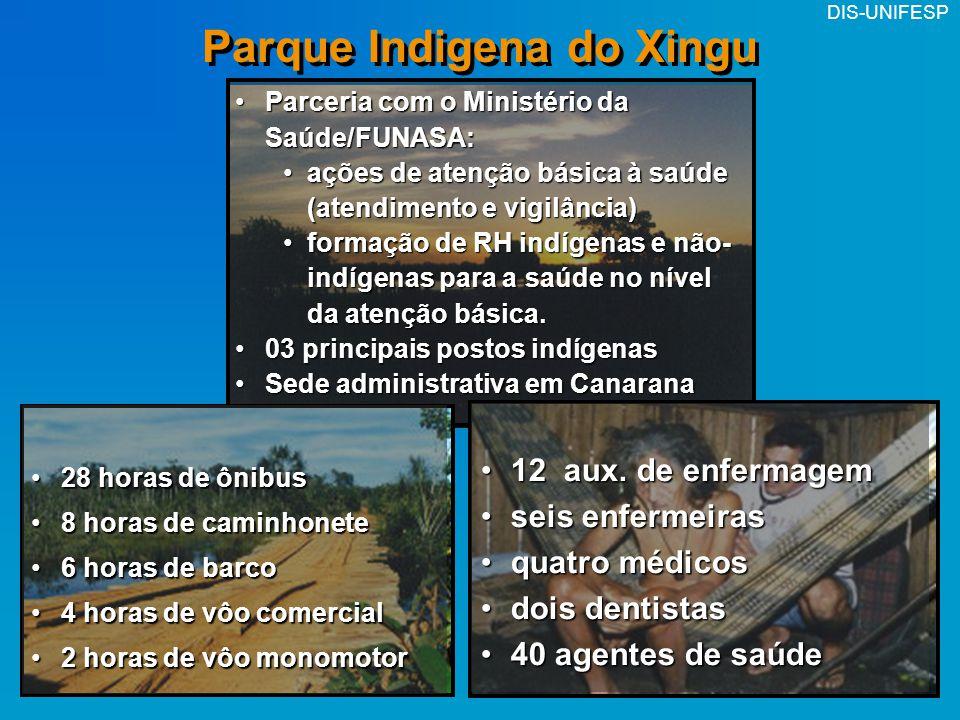 DIS-UNIFESP Parque Indigena do Xingu Parceria com o Ministério da Saúde/FUNASA:Parceria com o Ministério da Saúde/FUNASA: ações de atenção básica à sa