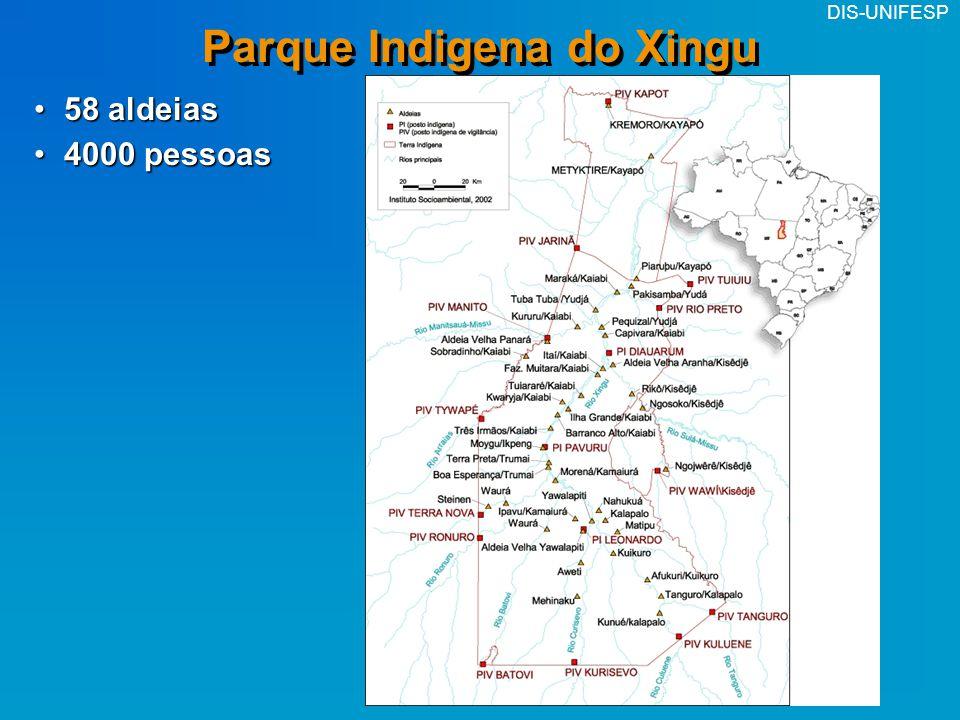 DIS-UNIFESP Parque Indigena do Xingu 58 aldeias58 aldeias 4000 pessoas4000 pessoas