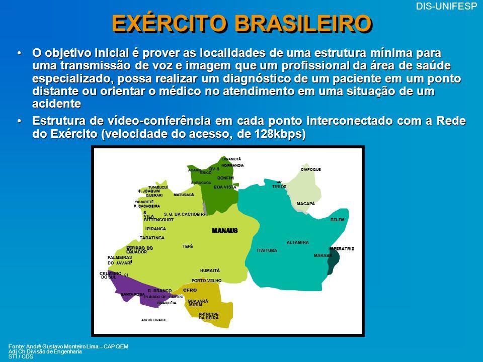 DIS-UNIFESP EXÉRCITO BRASILEIRO O objetivo inicial é prover as localidades de uma estrutura mínima para uma transmissão de voz e imagem que um profiss